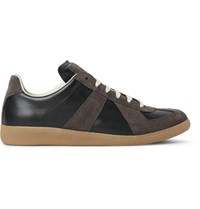 Maison Martin Margiela Replica Suede And Leather Sneakers Black