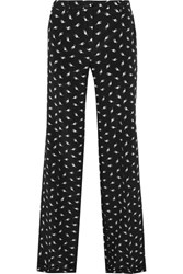 Miu Miu Printed Silk Crepe De Chine Wide Leg Pants Black