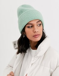 Monki Ribbed Beanie Hat In Sage Green