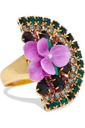 Elizabeth Cole Gold Tone Crystal And Resin Ring Multicolor