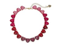 Betsey Johnson Ombre Glitter Heart Stone Collar Necklace Red Necklace