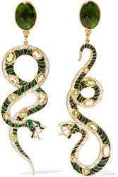 Percossi Papi Gold Plated Multi Stone Earrings Green