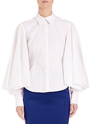 Zac Posen Poet Sleeve Button Up White