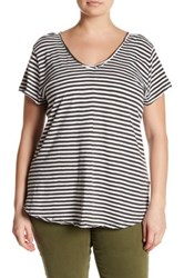 14Th And Union Striped Raw Cut V Neck Tee Plus Size Gray