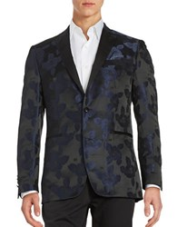 Tallia Orange Two Button Floral Jacquard Jacket Black Navy