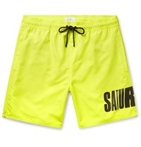 Saturdays Surf Nyc Wide Leg Long Length Logo Print Swim Shorts Yellow