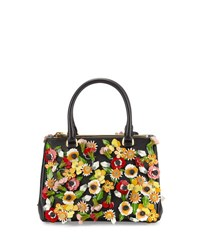 Prada Saffiano Garden Small Double Zip Galleria Tote Bag Black