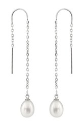 7 7.5Mm Cultured Freshwater Pearl Dangling Earring Threaders White