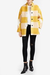 Paul And Joe Hairy Checked Wool Coat Yellow