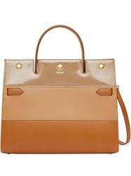 Burberry Medium Panelled Leather Title Bag Brown