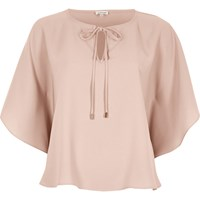River Island Womens Pink Tie Detail Poncho Top