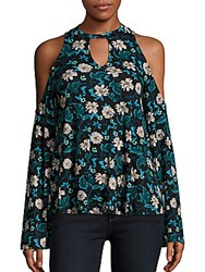 Romeo And Juliet Couture Cold Shoulder Floral Print Top Blue Combo