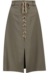 Sea Lace Up Stretch Pique Midi Skirt Army Green