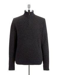 Black Brown Lambswool Zipper Placket Sweater Grey