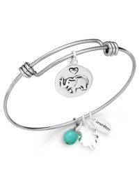 Unwritten Elephant Charm And Manufactured Turquoise 8Mm Bangle Bracelet In Stainless Steel
