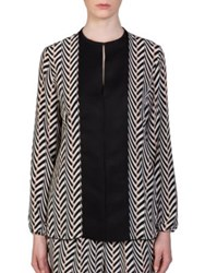 Lanvin Chevron Print Silk Blouse Black Nude