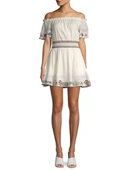 Red Carter Melissa Embroidered Off The Shoulder Mini Dress Ivory