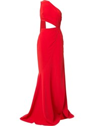 Elie Saab Cut Out High Slit Gown With Back Sash Red