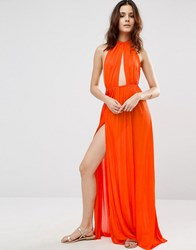 Asos Slinky Maxi Beach Dress With Plait Strap Orange