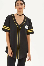 Forever 21 Nfl Steelers Baseball Jersey Black Yellow