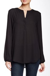 Harlowe And Graham Long Sleeve Split Front Round Collar Blouse Black