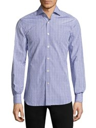 Kiton Plaid Casual Button Down Shirt Grey Blue