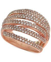 Effy Collection Pave Rose By Effy Diamond Dome Crossover Ring 1 Ct. T.W. In 14K Rose Gold