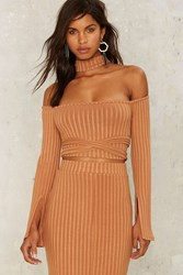 Lavish Alice Wrap Around The Way Ribbed Top Camel