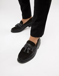 Truffle Collection Cord And Patent Loafer In Black