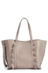 Sole Society Ruffled Faux Leather Tote Beige Taupe