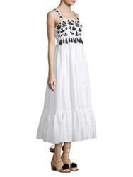 Carolina K. Terry Embroidered Tassel Dress White Black Embroidery