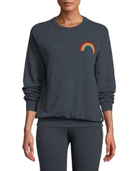 Aviator Nation Embroidered Rainbow Crewneck Sweatshirt Charcoal