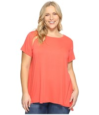 Vince Camuto Plus Size Short Sleeve High Low Hem Mix Media Top Coral Passion Women's Clothing Red