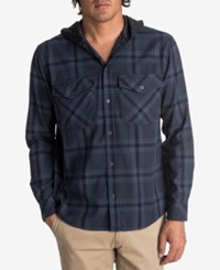 Quiksilver Men's Magston Plaid Hoodie Shirt Navy
