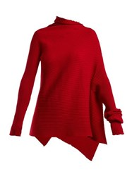 Marques'almeida Asymmetric Ribbed Knit Sweater Red