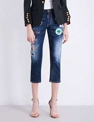 Dsquared Patch Detail Boyfriend Fit High Rise Jeans Blue Denium Dark Blue
