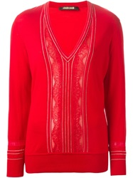 Roberto Cavalli Studded Pinstriped Sweater Red