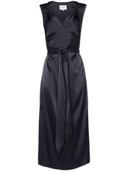 Nanushka Shanti Satin Knotted Strap Dress Blue