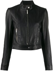 Michael Michael Kors Fitted Leather Jacket Black