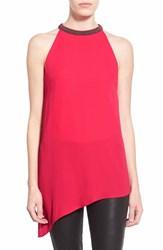Women's Astr Beaded High Neck Tank Fuschia