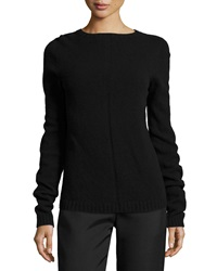 The Row Tisa Crewneck Knit Wool Cashmere Top Black