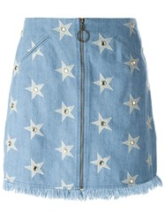 Manoush Start Print Denim Skirt Blue