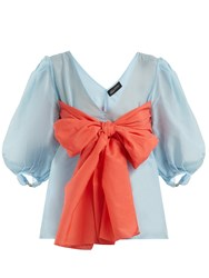 Anna October Contrast Bow Detailed Cotton Blend Blouse Blue Multi