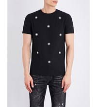 Versus Stud Embellished Cotton Jersey T Shirt Black