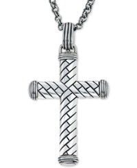 Esquire Men's Jewelry Decorative Cross Pendant Necklace In Sterling Silver First At Macy's