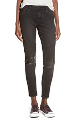 Junior Women's Vigoss Faux Leather Knee Moto Jeans