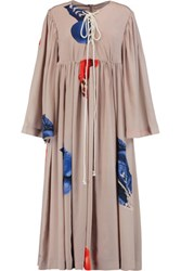 Natasha Zinko Gloves Printed Silk Satin Maxi Dress Mushroom