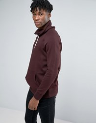New Look Funnel Neck Sweatshirt In Dark Burgundy Dark Purple