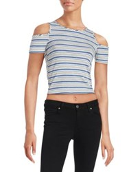 Design Lab Lord And Taylor Cropped Cold Shoulder Top Blue Multi