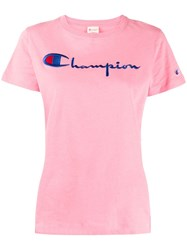 Champion Logo Embroidered T Shirt Pink